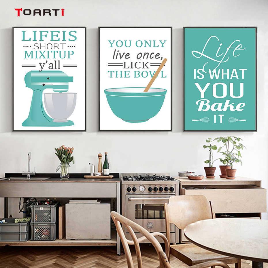 Cuadro sobre lienzo para pared suministros de cocina modernos póster e impresiones cita hermosa vida imágenes artísticas Pop decoración del hogar sin marco