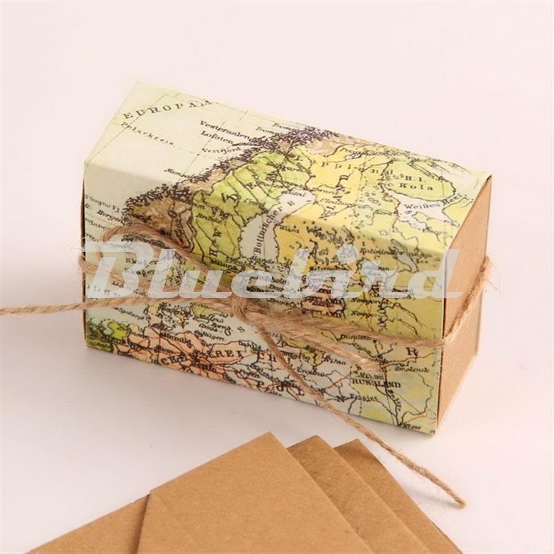 12Pcs Mini Kraft Paper Box Candy Gift Box Map Favor Boxes Around the World Favor Boxes Travel Theme
