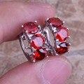 Сказочный Красный Создания Гранат Стерлингового Серебра 925 Серьги Обруча Huggie Для Женщин S0192