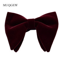 81e9a1bac09d Unisex Velvet Big Bow Tie Neck Clip-on Solid Color Fancy Dress Wedding Party  Pre