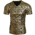 New Design Men Summer T shirt Coated Metallic V-Neck Shinny Tee Shirts For Men Gold Silver Punk Hip Hop Shirts Tops M-XXL H7306