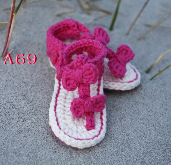 Handgemachte Babyschuhe Häkeln Sandalen Flip Flops Pink Infant ...