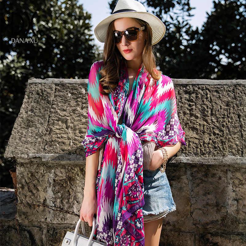 0b624f4ad0e 2019 Hijab Summer Print Silk Scarf Oversized Chiffon Bandana Women Pareo  Beach Cover Up Wrap Sarong Sunscreen Long Cape Female