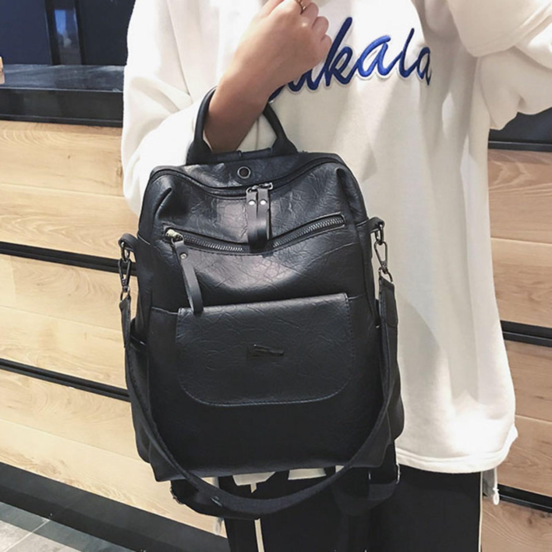 345dc903bbe4 FGGS-женский кожаный рюкзак женский школьный рюкзак для девочек-подростков  винтажный большой многофункциональный Mochila