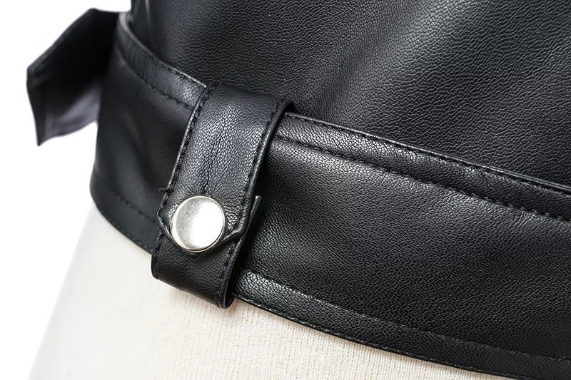 Black Zipper Long Sleeve Motorcycle Punk Faux Soft Leather Jacket Coat 7