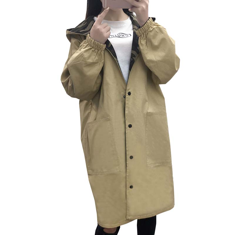 Spring Autumn Long Hooded   Trench   Women Print Letter Camouflage Double Coats Female Loose Wide-waisted Windbreaker Outwears Mw358