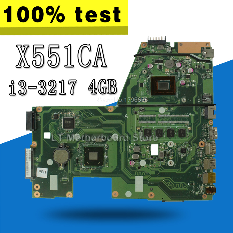 X551CA Motherboard i3-3217 CPU 4 GB For ASUS X551C X551CAP F551CA R512CA Laptop motherboard X551CA Mainboard X551CA Motherboard hot for asus x551ca laptop motherboard x551ca mainboard rev2 2 1007u 100% tested new motherboard