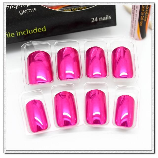 New 24tips Classic Magenta Color Metallic Nail Tips, False nails ...