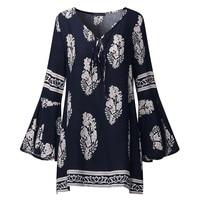 ZANZEA 2017 Womens Lace Up V Neck Shirt Summer Oversized Boho Female Floral Print Flare Sleeve