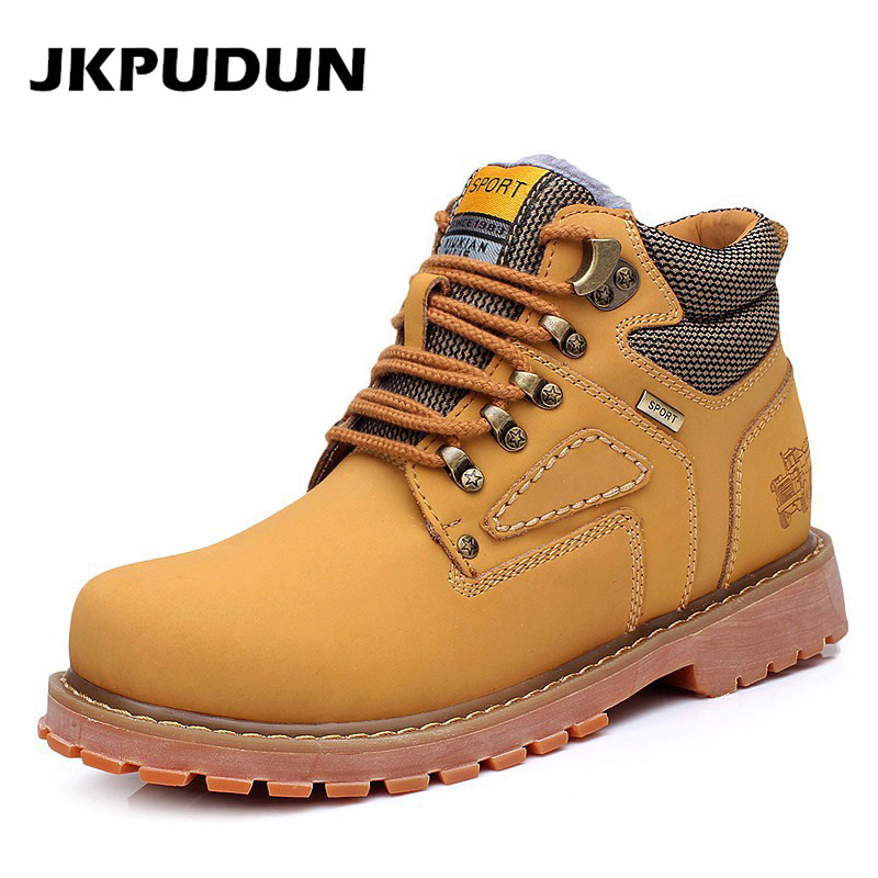 promo code 0539c a52db JKPUDUN Fashion Genuine Leather Men Boots Casual Shoes Brown Luxury Brand  2017 Autumn Winter Handmade Male