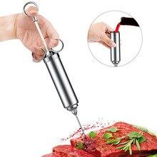 2 унции инжектор для мяса из нержавеющей стали гриль приправа инжектор индейка для мяса кулинарный шприц маринад инжектор кухонные аксессуары