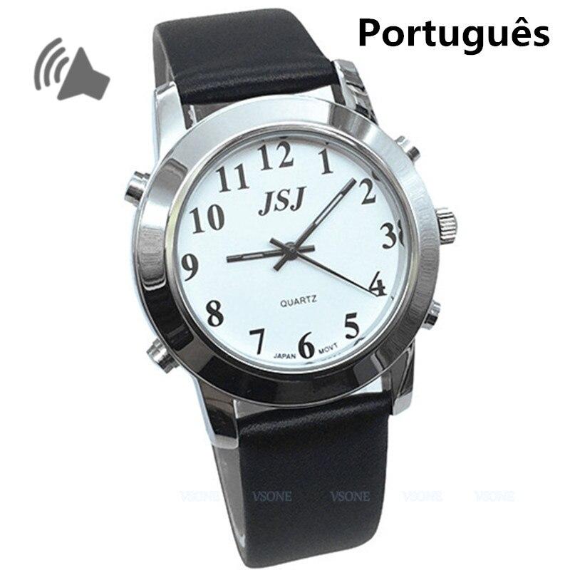 Montre parlante portugaise pour aveugles ou malvoyants avec bracelet en cuir noirMontre parlante portugaise pour aveugles ou malvoyants avec bracelet en cuir noir