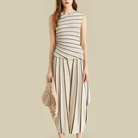 LANMREM 2019 Summer New Fashion Women Loose Plus Casual Pleated Sleeveless Striped Vest Wide Leg Pants Suit TC221