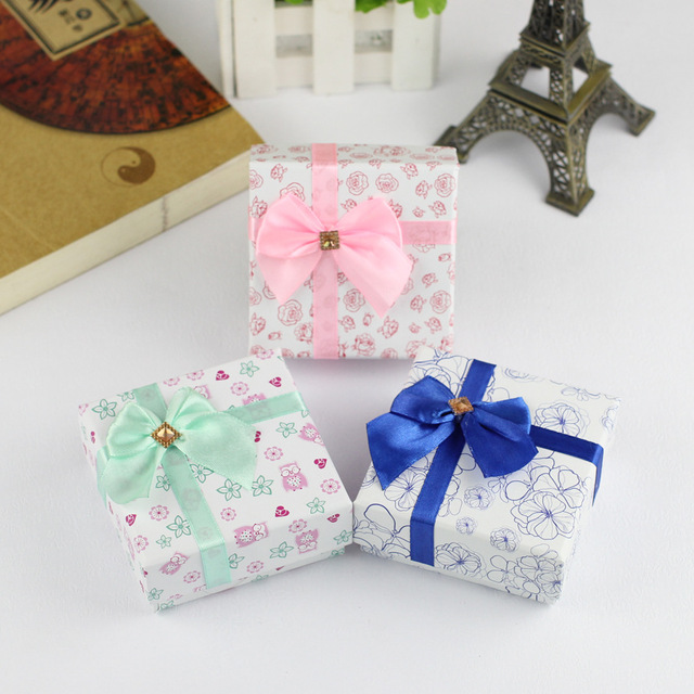 Christmas Gift Boxes Wholesale.8 8 4 Fashion Square Silk Bowknot Jewelry Box Rings Pendant Earrings Christmas Gift Boxes Jewelry Packaging Boxes Wholesale In Jewelry Packaging