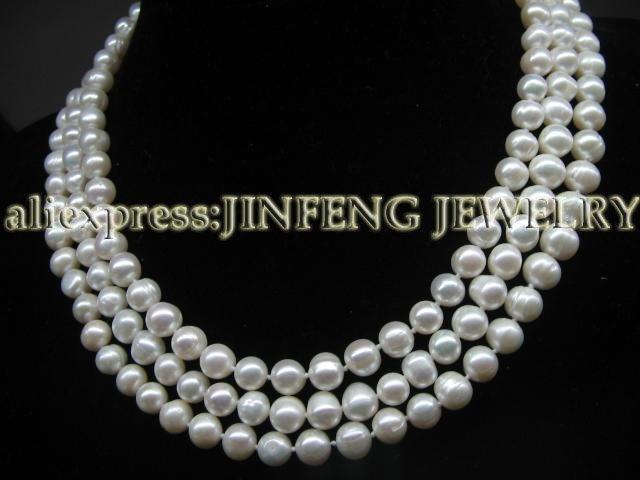 60 pulgadas 6-7mm blanco de agua dulce collar de perlas infinitas envío gratis