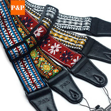 P&P Adjustable Vintage Flowers Stripes Acoustic Electric Guitar Strap Belt Cotton Woven Embroidery Fabrics Leather Ends