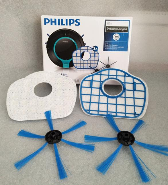 2 боковые щетки + 2 фильтр комплект с коробкой для Philips Smartpro Active FC8065 FC8710/FC8700/FC8715/ FC8603/FC8705 пылесос Запчасти