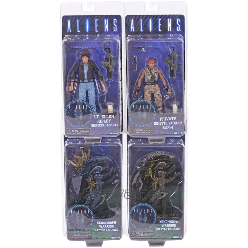 ALIENS LT.Ellen Ripley (Bomber Jacket) Private Jenette Vasquez (BDUs) Xenomorph Warrior (Battle Damaged) Action Figure Toy xeltek private seat tqfp64 ta050 b006 burning test