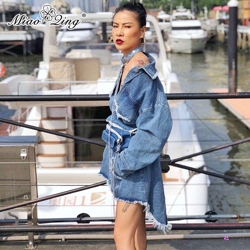 Miaoqing Surdimensionné Sexy Denim Vêtements Streetwear Harajuku Les Longues Gland Pour Coréenne Dames Robe À Asymétrique Femmes Manches r7rqFnRwS