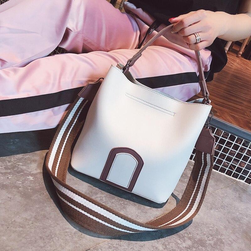 Fashion Bucket Female bag 2018 New Handbag Quality PU Leather Women bag Hit color Large capacity Tote bag Portable Shoulder bags
