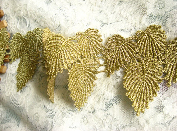 Gold Lace Trim, Baroque Crocheted Lace Trim, Embroidered leaves trim,  Jewelry lace,