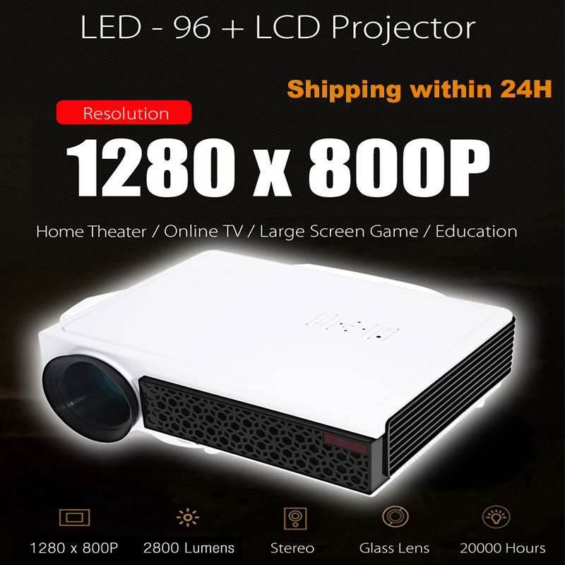 Projecteur LCD d'origine AAO LED-96 + Plus 2800 Lumens WiFi 1280X800 Pixels 1080 P projecteurs vidéo Full HD HDMI USB RCA
