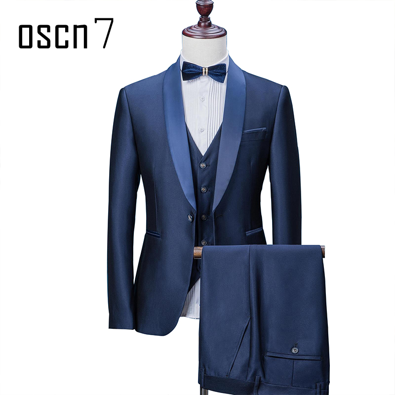 OSCN7 Royal Blue 3 Pcs Men Suit Party Event Wedding Dress Suits for Men Costume Homme Slim Fit Tuxedo Plus Size Fashion Suit Men