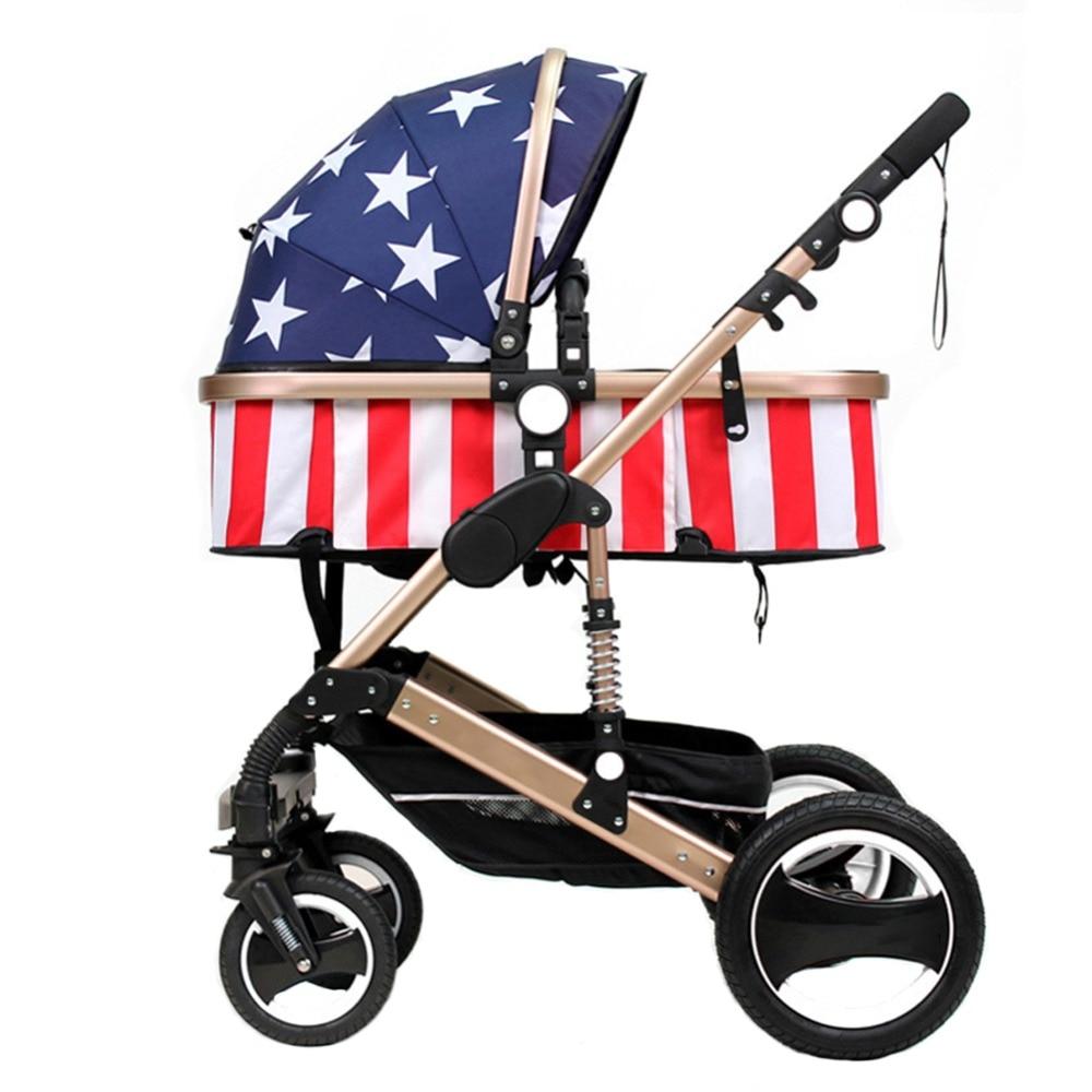 Детская коляска, ультра легкая, складывающаяся, резиновая, четыре колеса, может сидеть, лежа, ударная тележка - 5