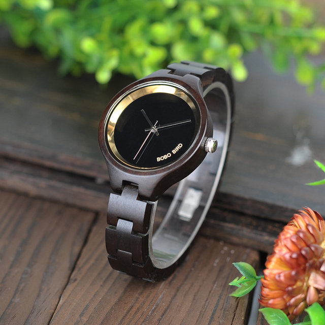 BOBO BIRD P16 Simple Women Wooden Watches Classic Black Dial Ladies Quartz Dress Watch in Wooden Box