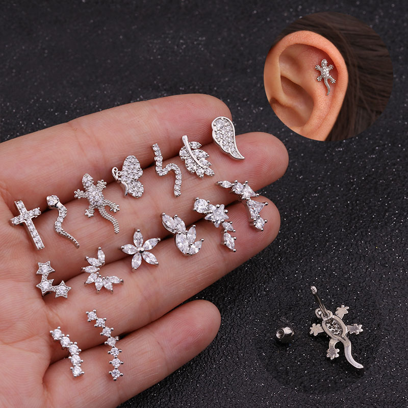TTLIFE Various Stainless Steel Cartilage Piercing Helix Jewelry Cz Leaf Snake Ear Stud Tragus Cartilage Conch Earring Stud 20G in Body Jewelry from Jewelry Accessories