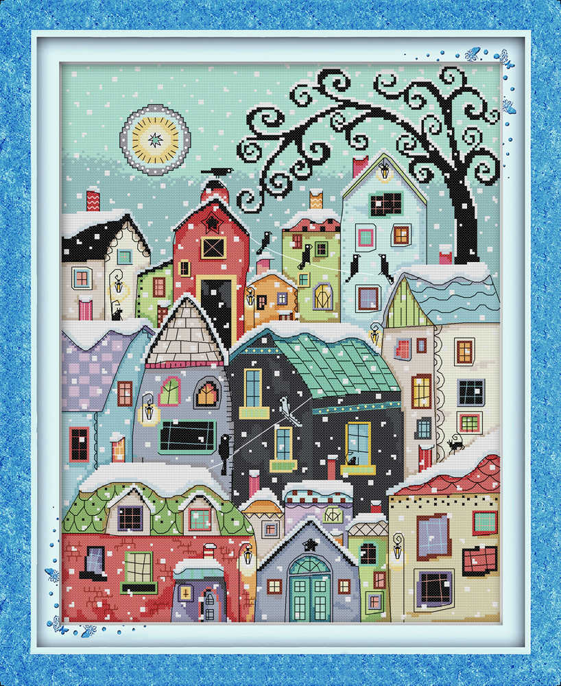 Набор для вышивки крестом со снежной улицей aida 14ct 11ct граф печатные холсты стежков вышивка DIY рукоделие ручной работы
