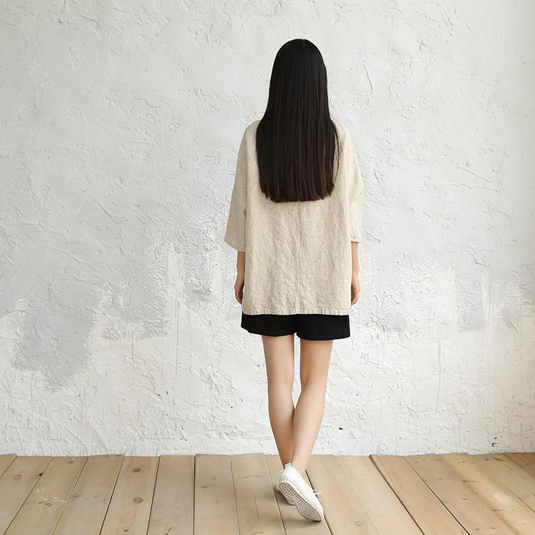OriGoods Vintage Linen Blouse Women Plus size Solid Beige Linen Shirt Blouse Retro Original Loose Linen Blouse Tops Blusas C031