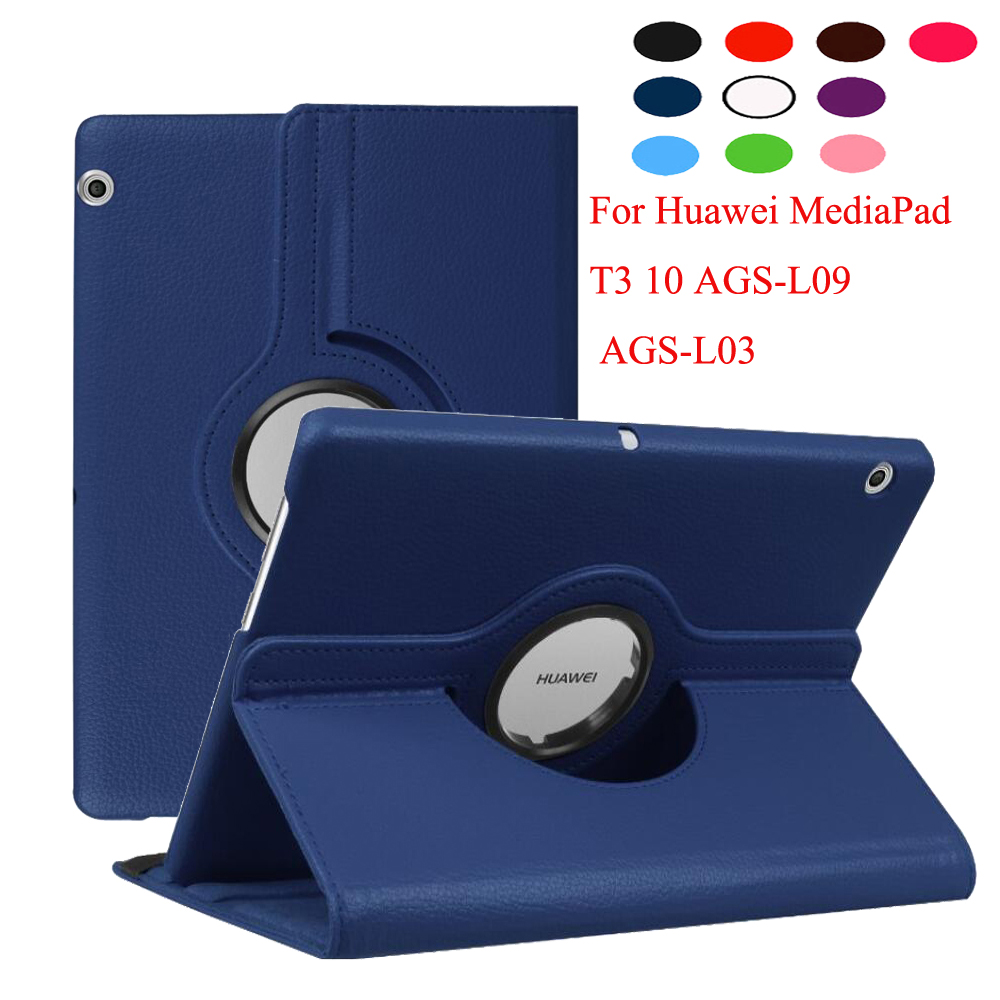 360 Degree Rotating Litchi Stand Leather Cover Case For Huawei Mediapad T3 10 9.6 Inch AGS-L09 AGS-L03 Tablet + Clear Film + Pen