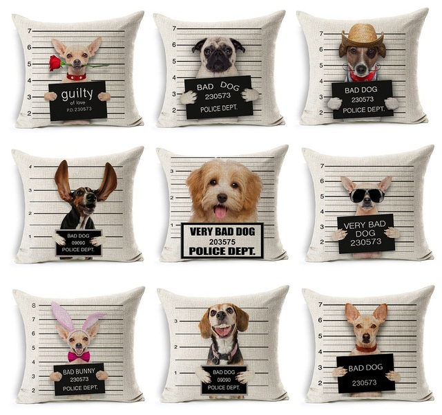 Bad Dog Cushion Cover Guilty Of Love Bad Bunny Beige Pillow Case Thin Linen  Cotton Bedroom