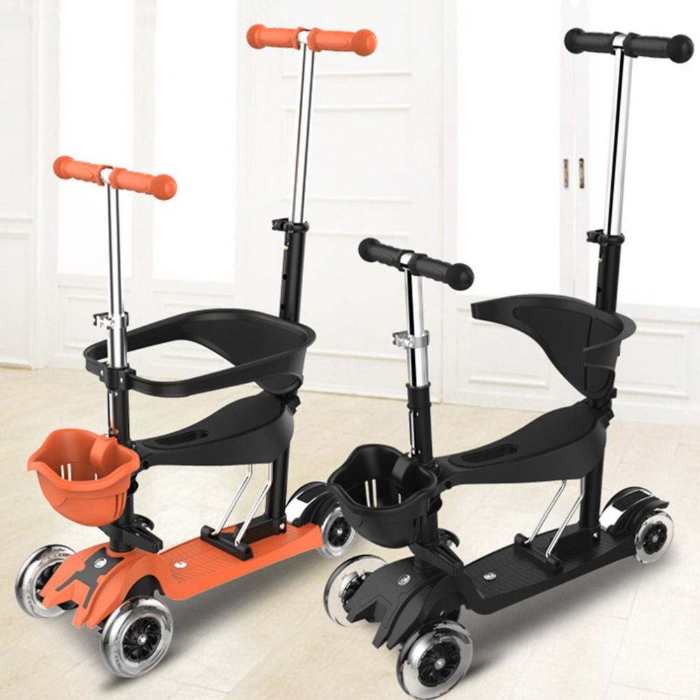 3 режима светодиодный свет 4 колеса скейтборд скутер с Регулируемая Т бар ручки и Съемное Сиденье Для Дети детские walker