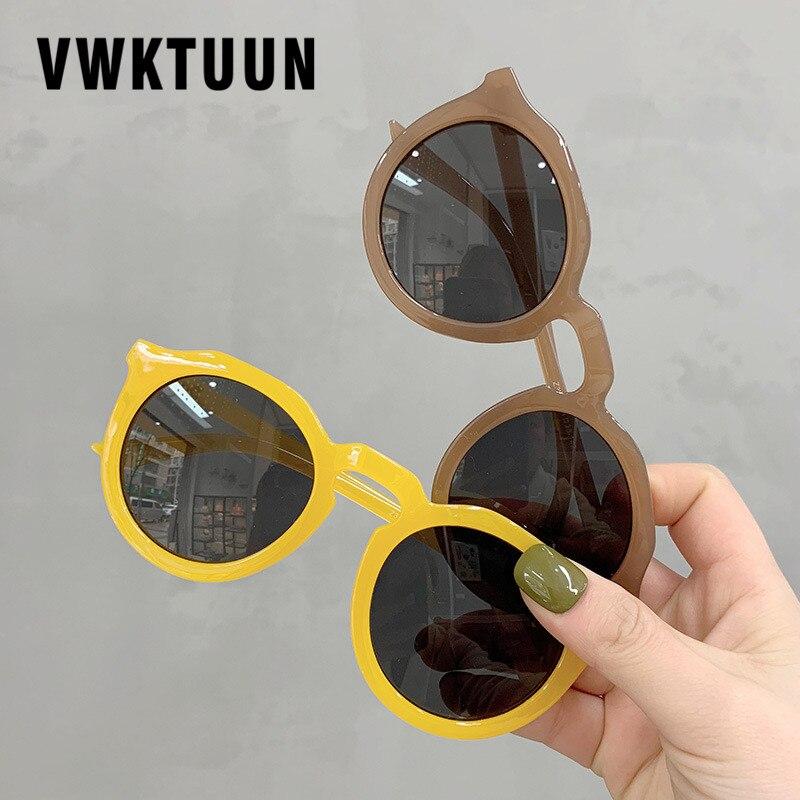 Vwktuun óculos de sol redondo feminino, óculos gelatina para mulheres, luxuoso, uv400, vintage, esportivo