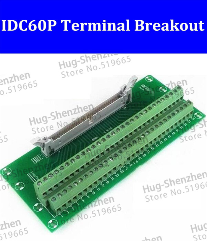 IDC60P IDC 60 Pin Male Connector to 60P Terminal Block Breakout Board Adapter PLC Relay Terminals DIN Rail Mounting--1pcs/lot 2pcs hdmi 2 0 hd adapter male connector breakout to 19p terminal board no need soldering high quality with housing shell