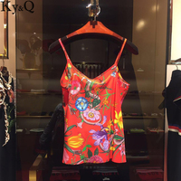 Ky Q 2017 NEW Casual Flowers Red Plant Flowers Gorgeous Sexy Beach Vest TankTop