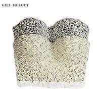 Hand Made Pearl White Tone Beads Bustier Top For Women Jewel Diamond Bralet Nightclub Cropped Bra