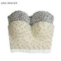 Hand Made Pearl White Tone Beads Bustier Top For Women Jewel Diamond Bralet Nightclub Cropped Bra