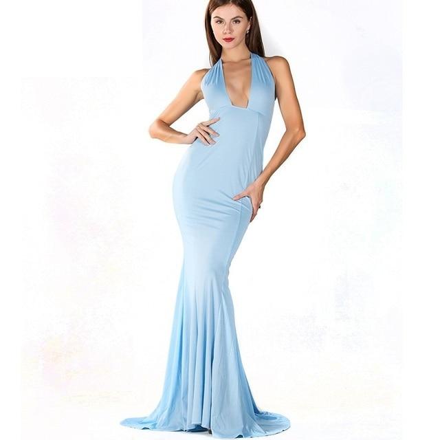 d1e316c54a Błękitny Długa Sukienka Syrenka V neck Plunge Sexy Suknia Prom Dresses  Specjalne Okazje Rękawów Aneks