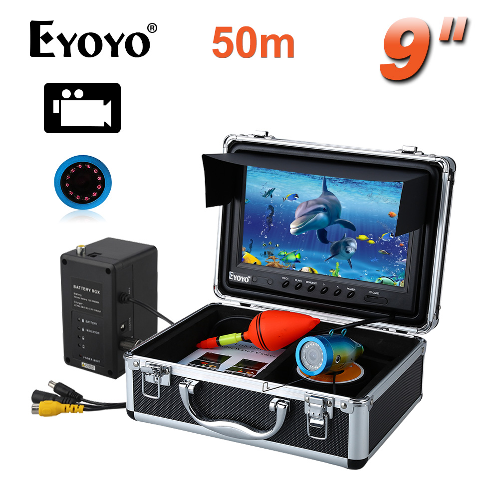 EYOYO Professional 50M IR 8GB Fish Finder Fishing Video Camera DVR Recorder 9LCD 1000TVL CAM Free Sunvisor eyoyo 30m 9 video fish finder hd 1000tvl under water video recorder dvr 8gb infrared fishing camera