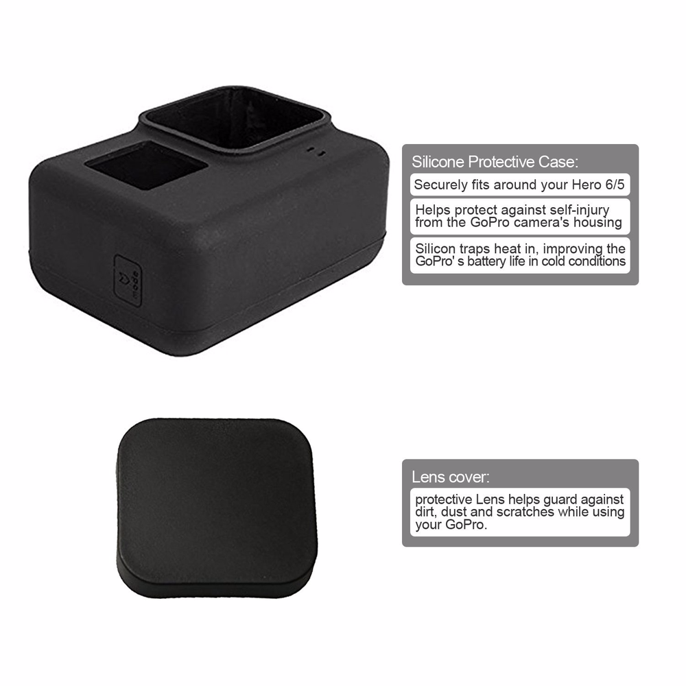 Image 3 - Action Camera Accessories For GoPro Hero 7 6 5 Waterproof Case Travel Screen Protector Lens Filter Silicone Protective Case Bag-in Sports Camcorder Cases from Consumer Electronics