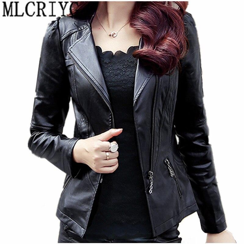 2019 printemps automne PU cuir veste femmes doux Faux cuir manteau court mince noir moto vestes grande taille 5xl 6xl YQ103