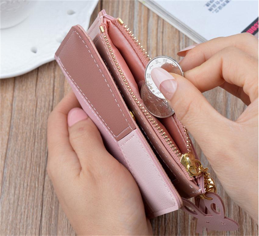 Γυναικείο πορτοφολάκι ρόζ για κάρτες χρήματα κέρματα θηλυκό μοντέρνο πορτοφόλι msow