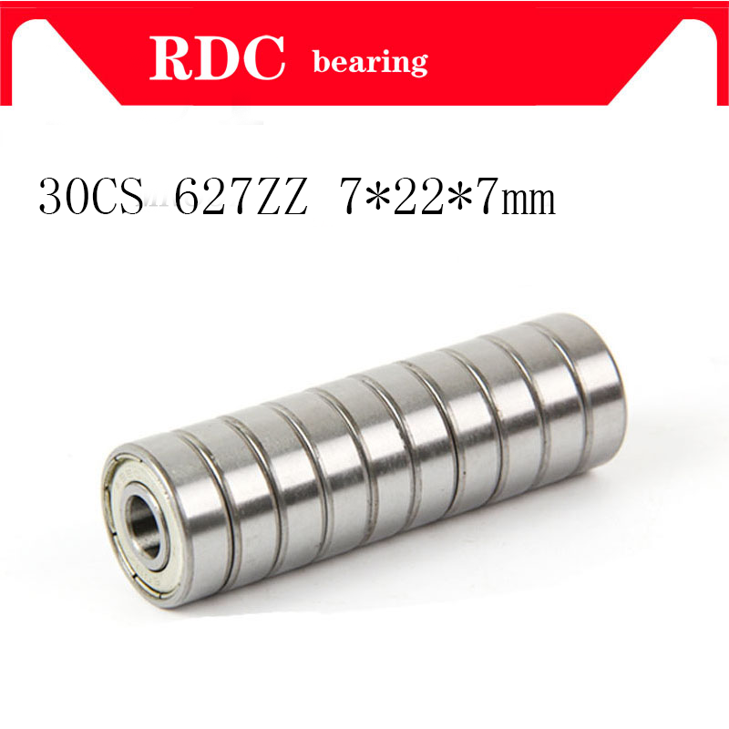 30pcs/Lot ABEC-5 627ZZ 627Z 627 ZZ 7x22x7mm 7*22*7mm Mini Miniature Metal Seal Bearing High Quality Deep Groove Ball Bearing
