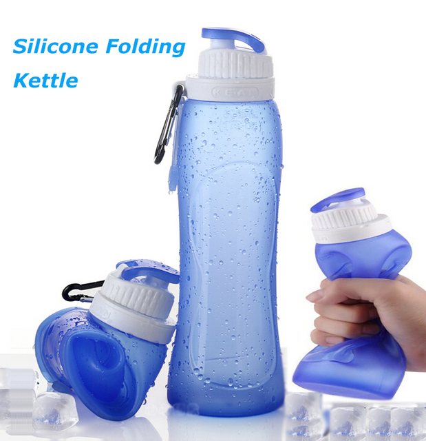 2016 New Design Silicone Folding Kettle Tour Climbing Hiking Camp Water Bottle Portable Sport Foldable Drinking Bottle Hot
