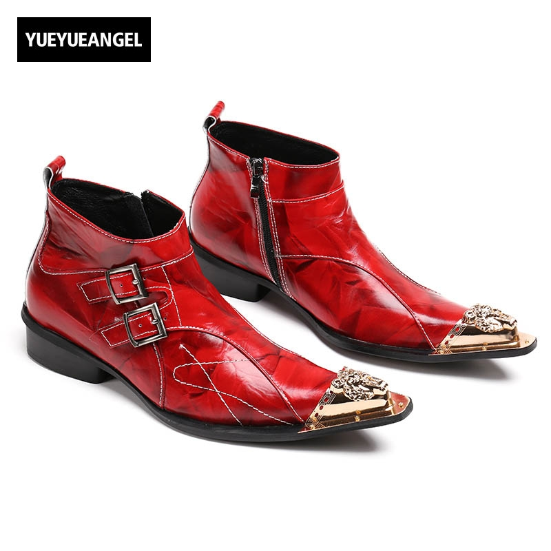 2018 New Fashion Cool Designer Style Men Genuine Leather Side Zipper Motorcycle Biker Shoes Male Buckle Ankle Boots Plus Size