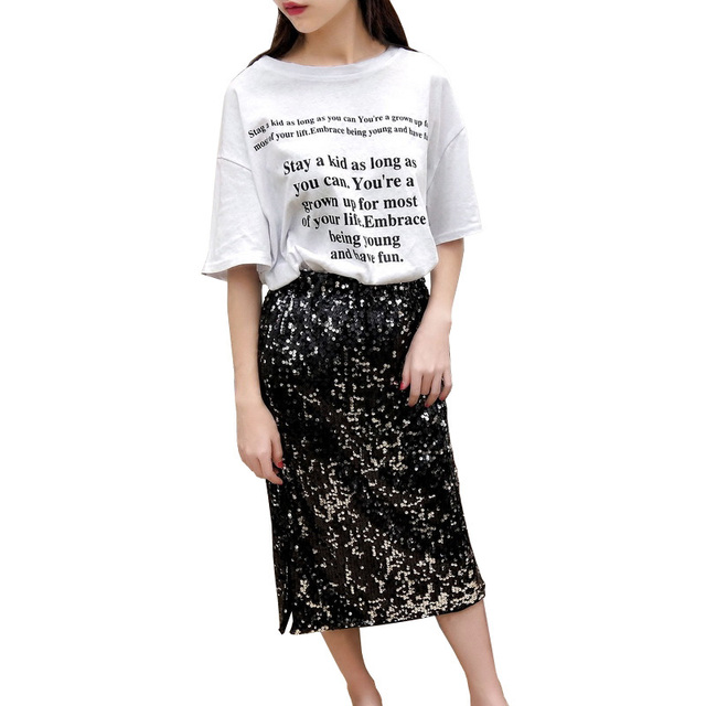 2019 Fashion Women Suits Letter Print T-shirt With Sequins Split Skirt Sets Female Two Piece Suit Casual Summer Outfits Suit