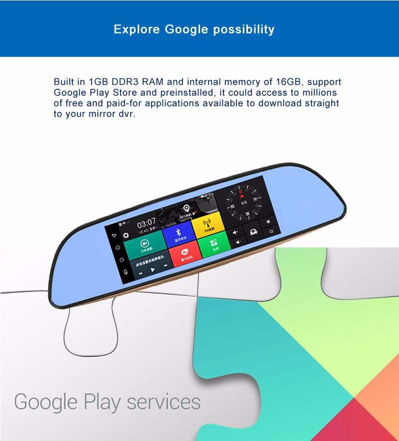 Free 32GB card+3G Car DVR+Android 5.0 Bluetooth GPS WIFI Dual lens rearview mirror camera+FHD1080P camara automovil Phisung H2 9